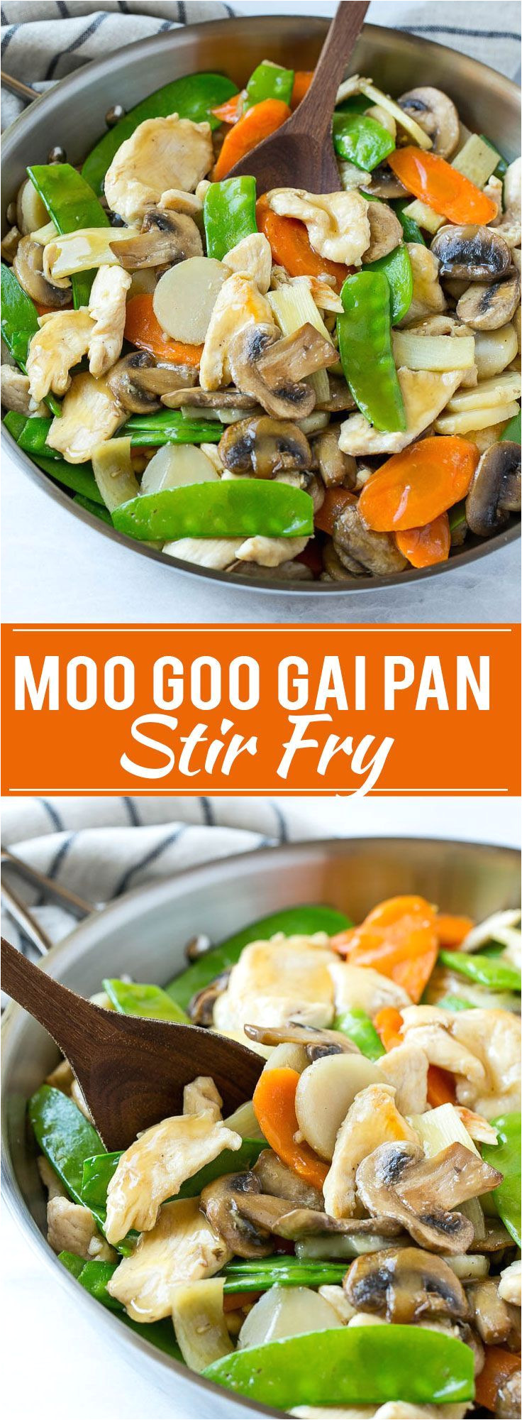 this recipe for moo goo gai pan is a classic dish of chicken and vegetables stir