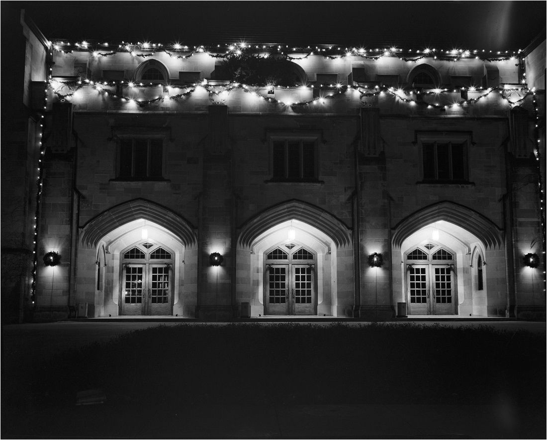 photograph of hoch auditorium with holiday lights 1954