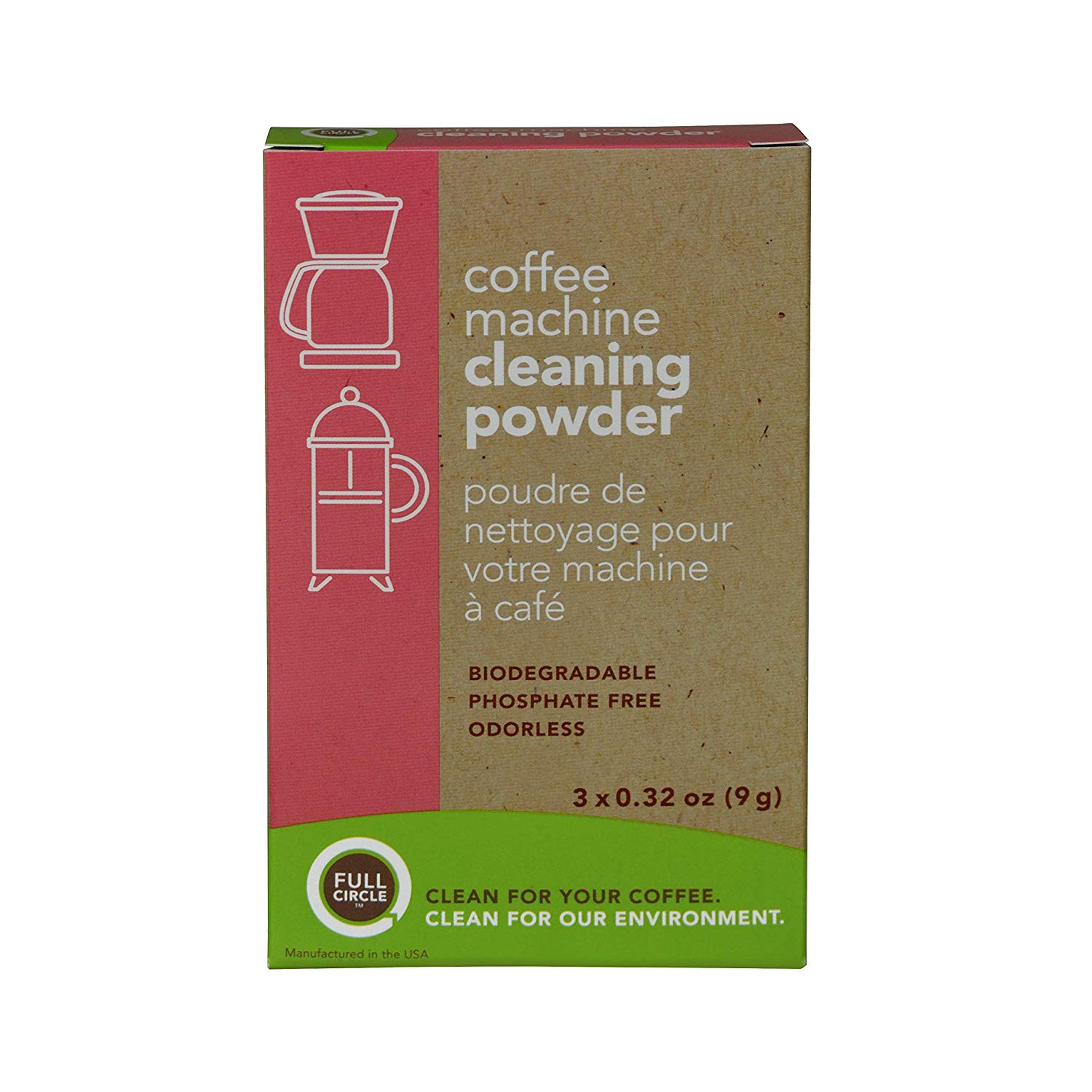 amazon com full circle coffee machine cleaner cleaning powder 3 single use packets safe on keurig delonghi nespresso ninja hamilton beach mr coffee