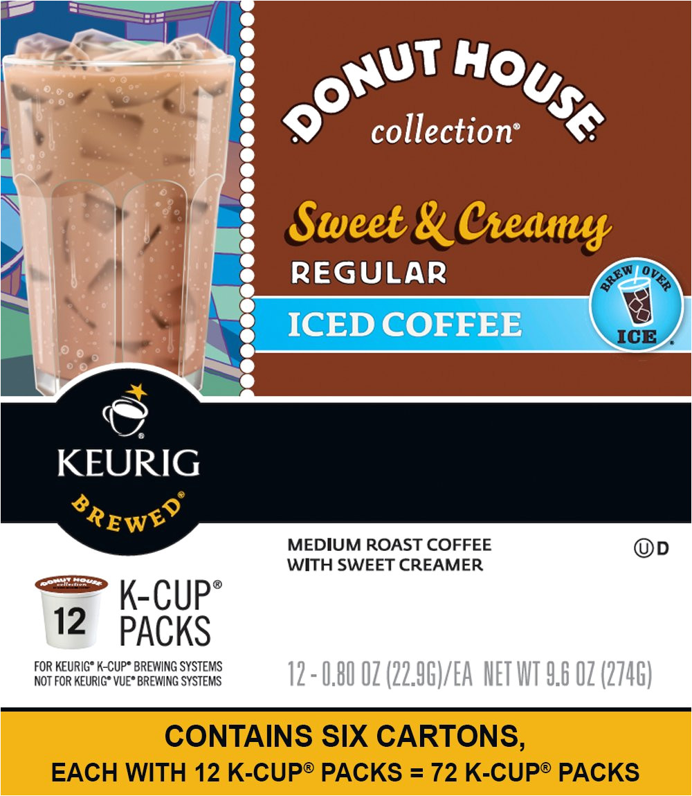 keurig donut house collection sweet creamy regular iced coffee k cup packs 12 count pack of 6 amazon com grocery gourmet food