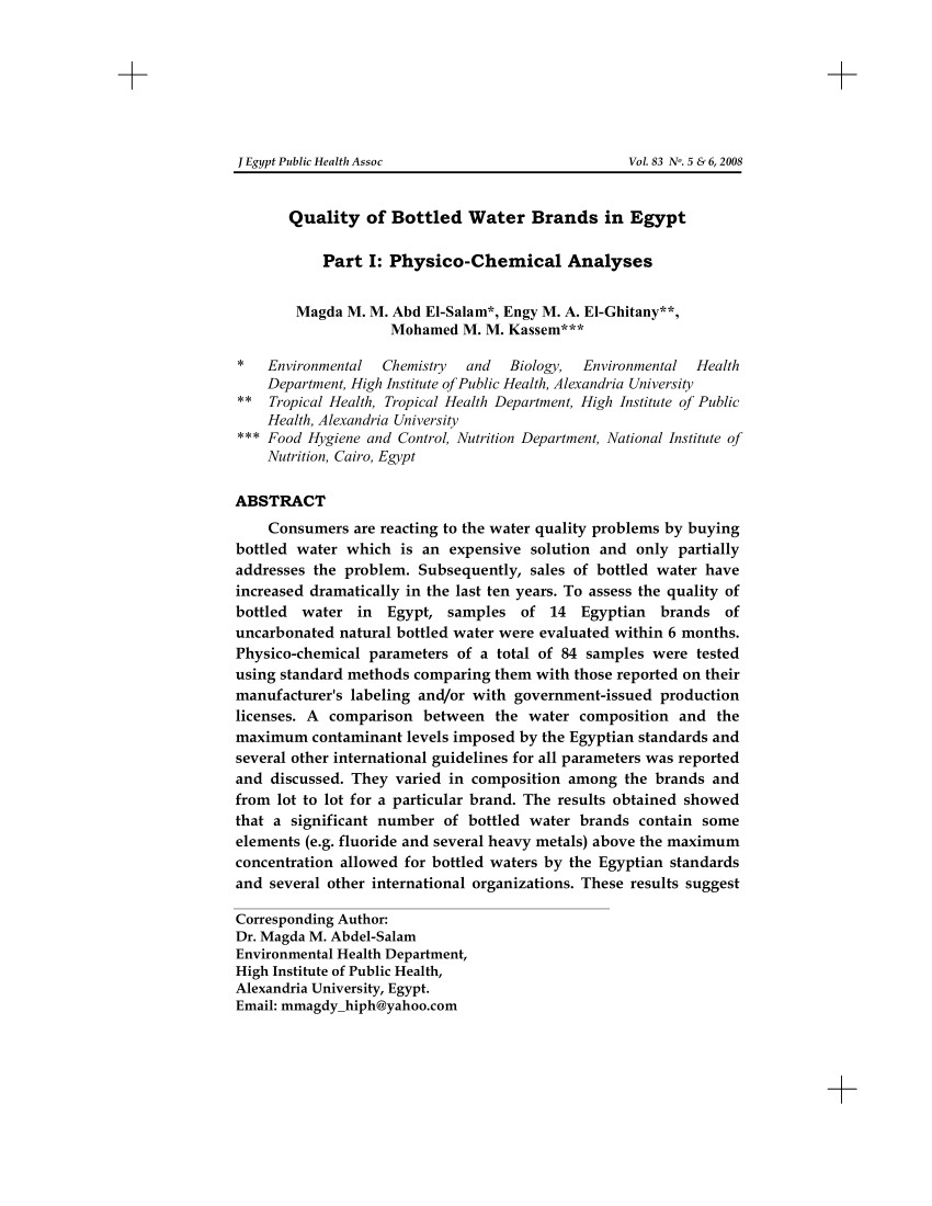 pdf quality of bottled water brands in egypt part i physico chemical analyses