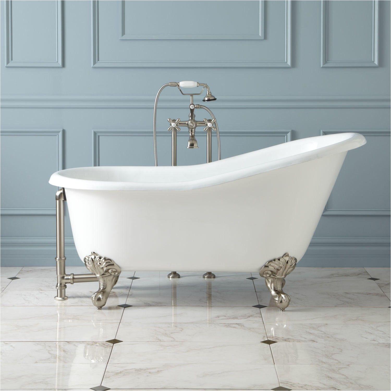 erica cast iron slipper clawfoot tub on solid brass imperial feet bathtubs bathroom