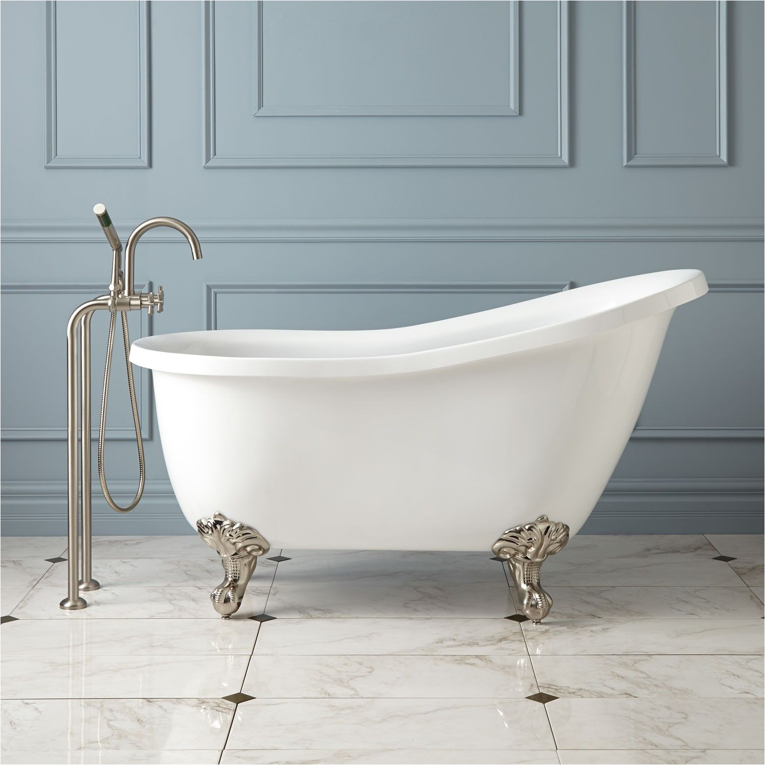 a 54 small scale clawfoot tub for real and it s cheaper than a replacement corner tub would be bathtubs