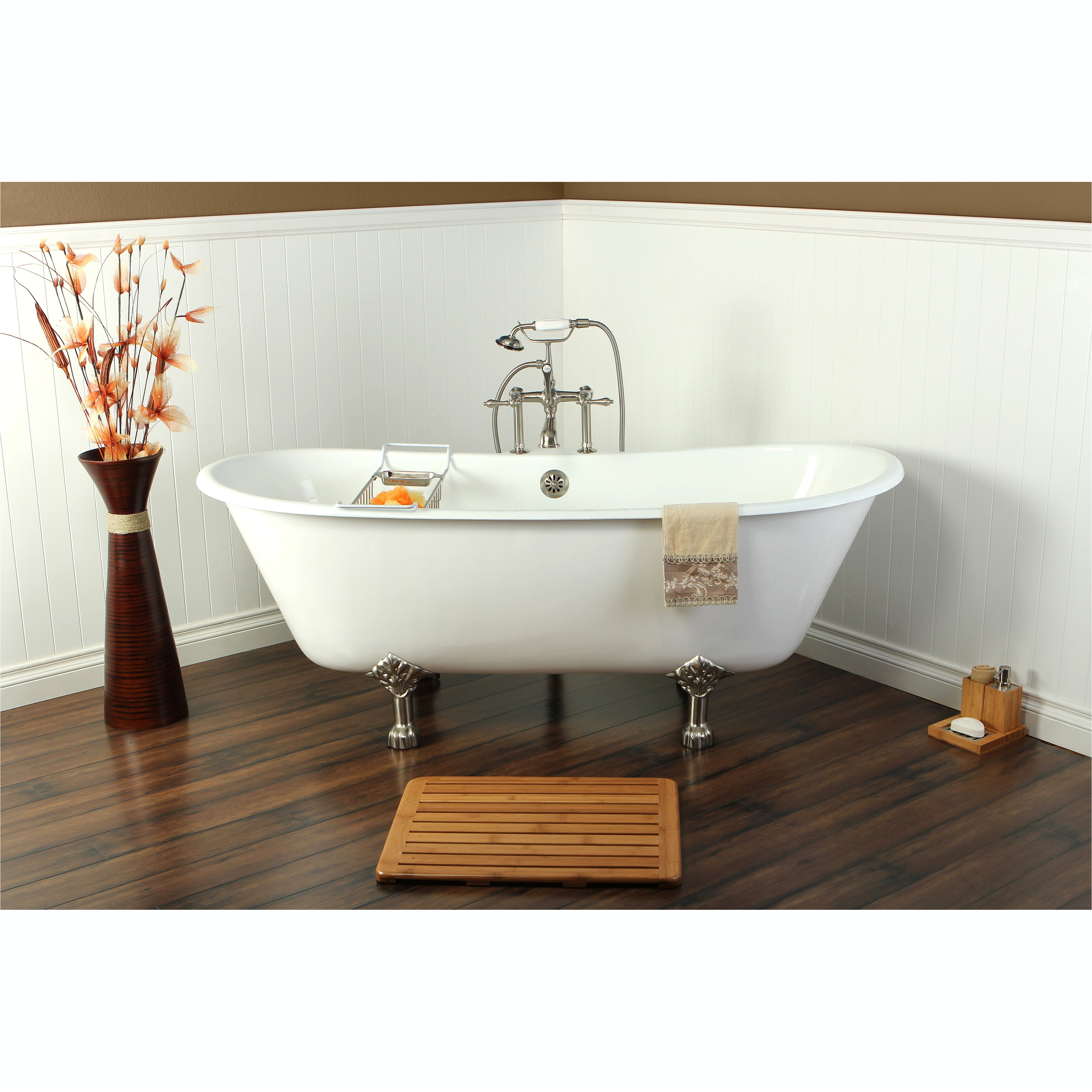 shop 67 inch cast iron double slipper clawfoot bathtub free shipping today overstock com 7729144