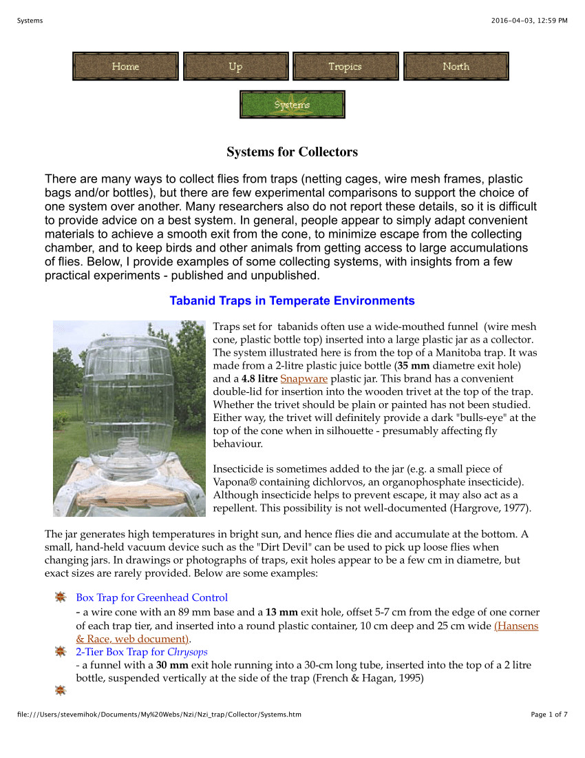 Cluster Fly Traps Homemade Pdf Design for A Canopy Trap for Collecting Horse Flies Diptera