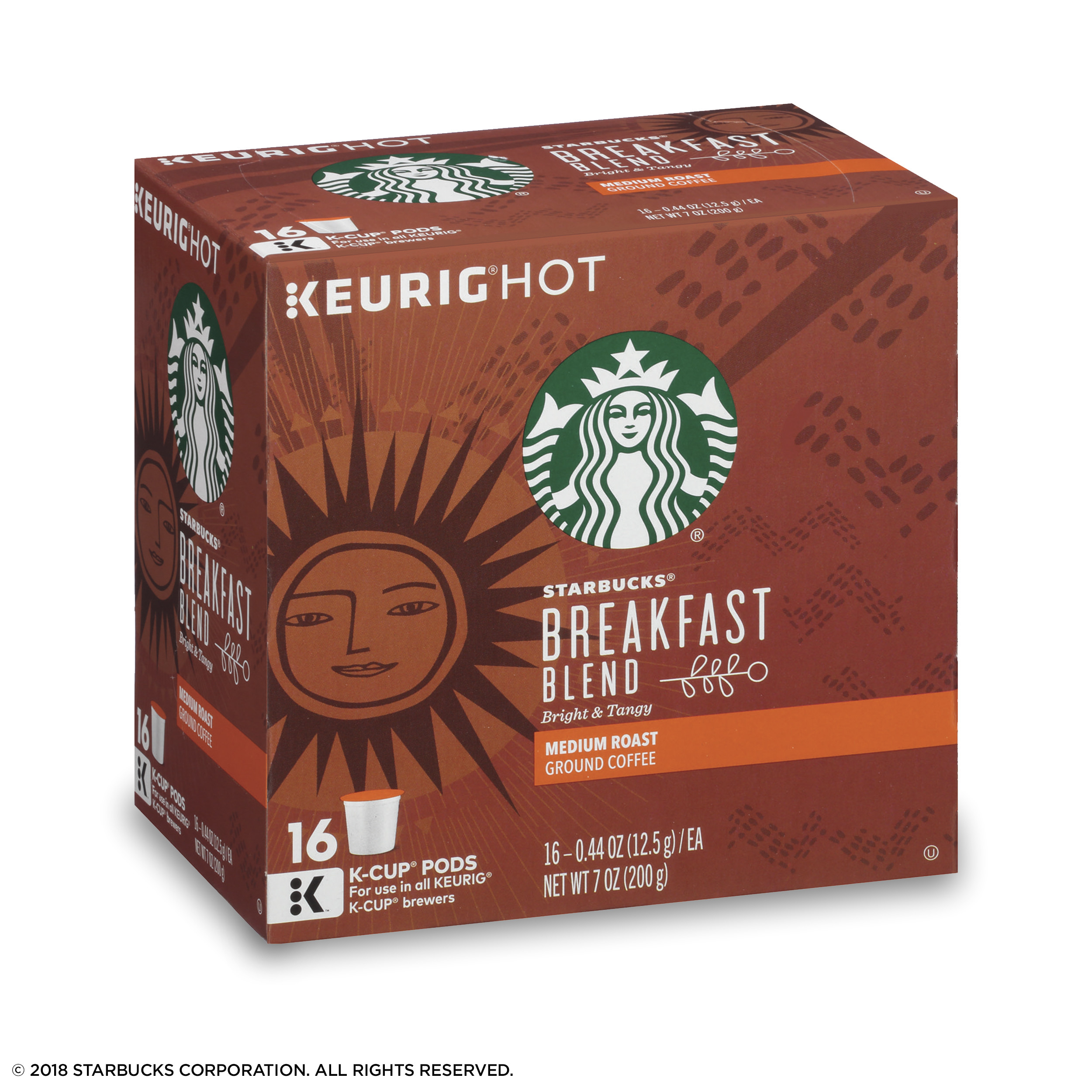 starbucks breakfast blend medium roast single cup coffee for keurig brewers 1 box of 16 16 total k cup pods walmart com