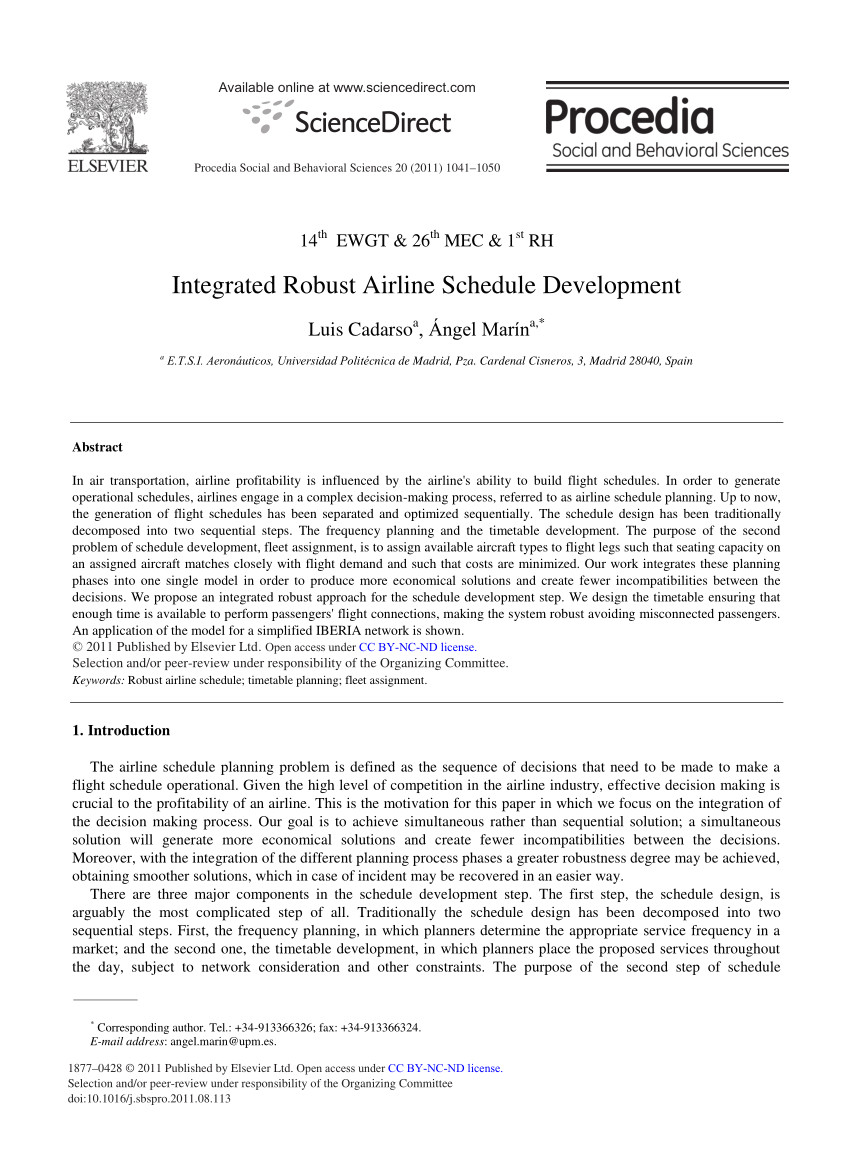 pdf integrated robust airline schedule development