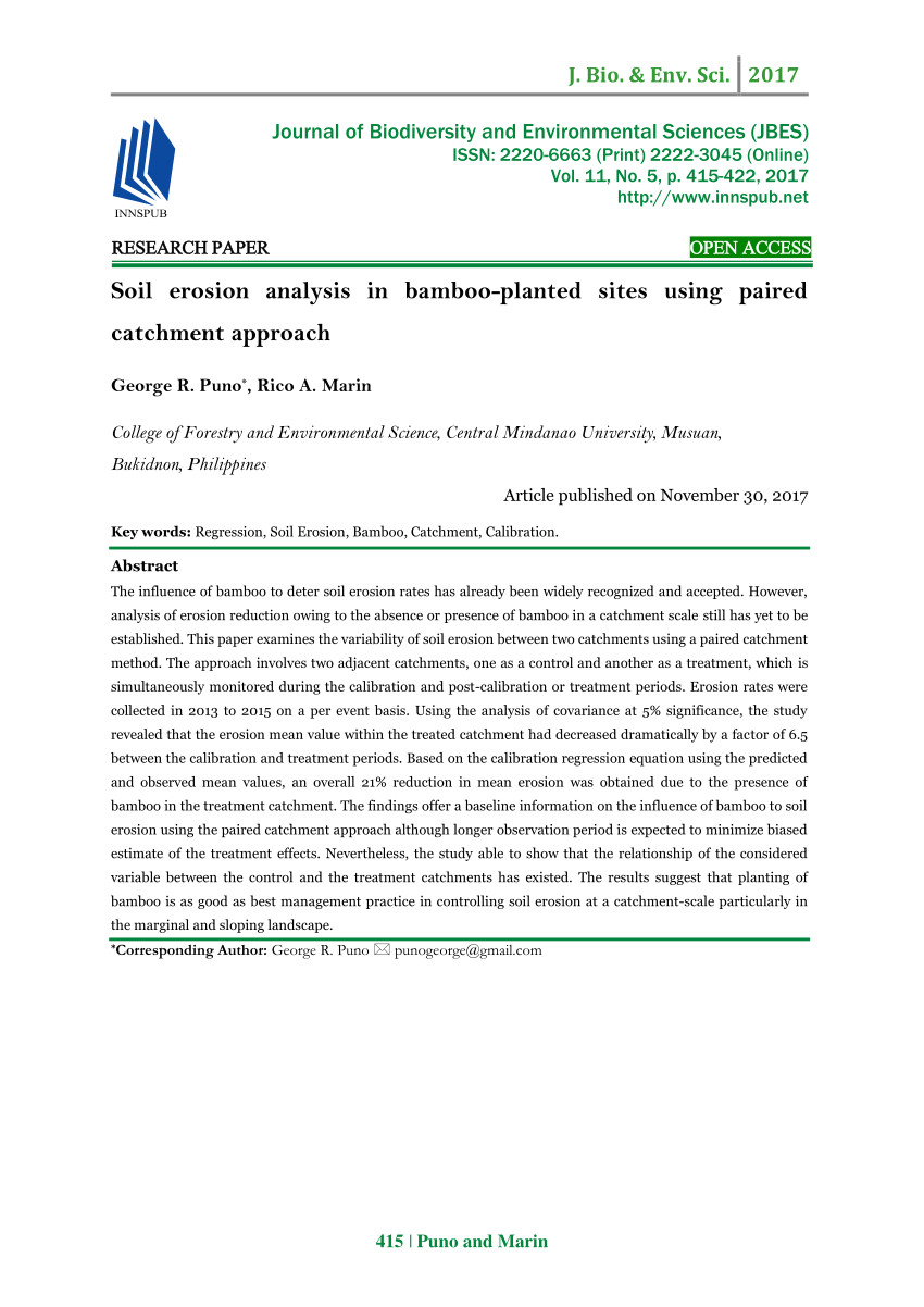 pdf soil erosion analysis in bamboo planted sites using paired catchment approach