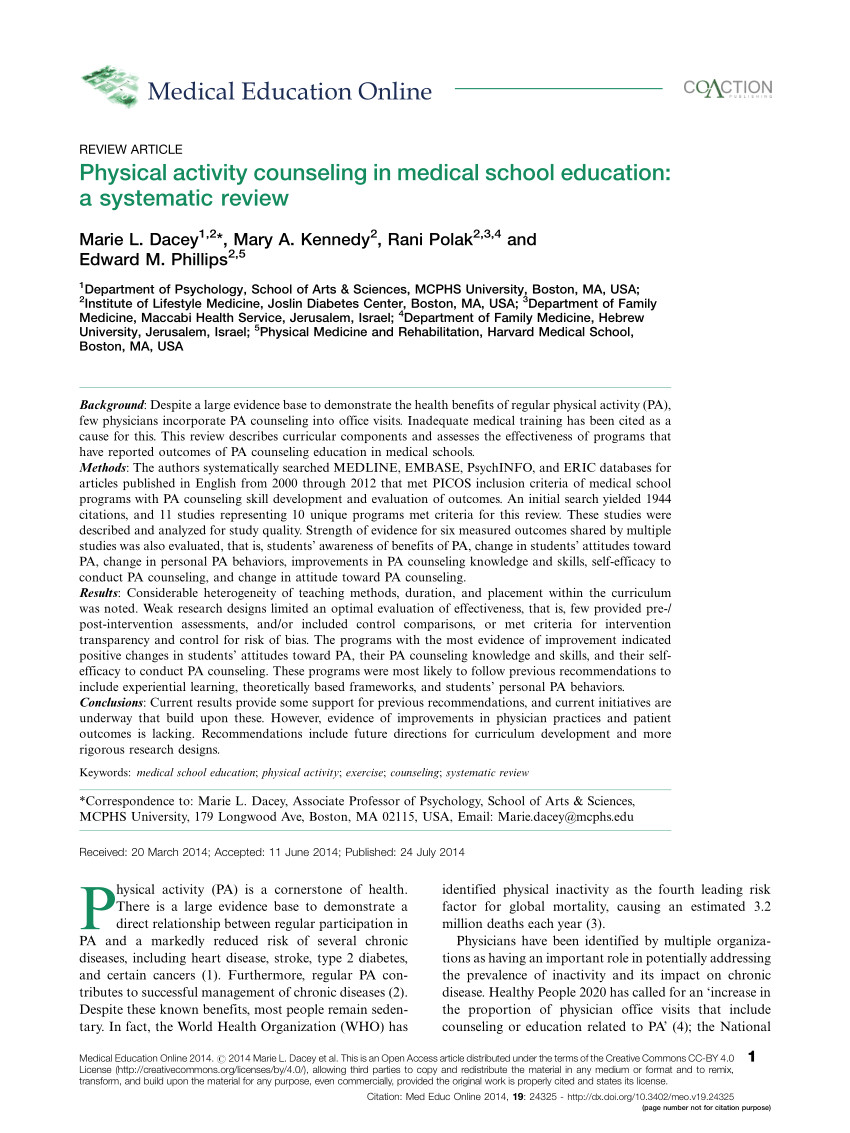 pdf physical activity training in us medical schools preparing future physicians to engage in primary prevention