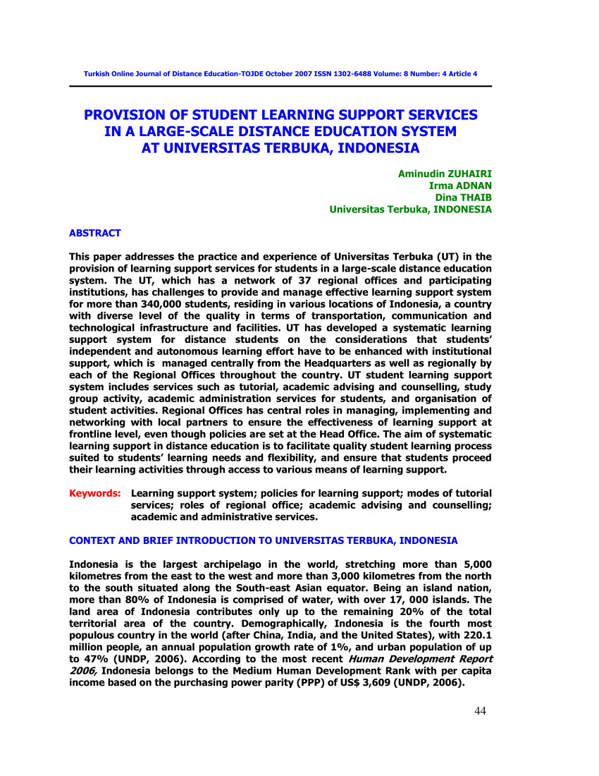 pdf provision of student learning support services in a large scale distance education system at universitas terbuka indonesia
