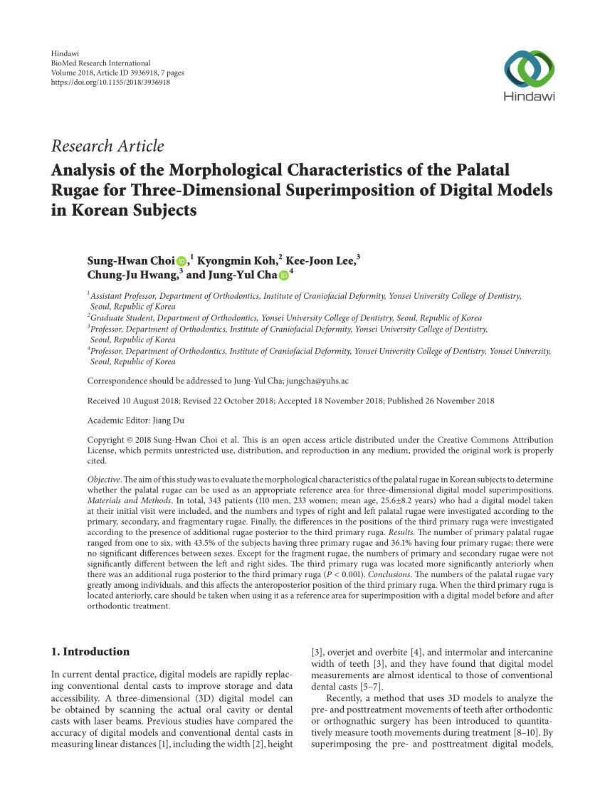 pdf analysis of the morphological characteristics of the palatal rugae for three dimensional superimposition of digital models in korean subjects