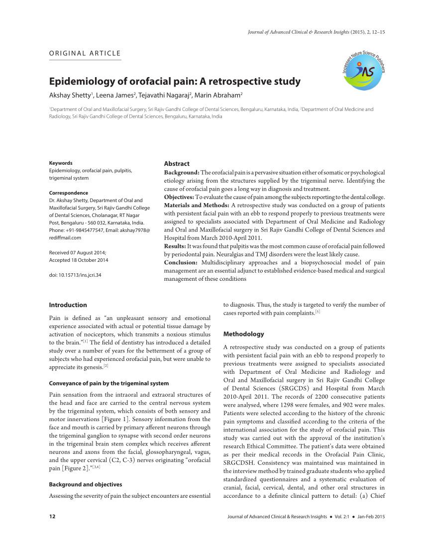 pdf epidemiology of orofacial pain a retrospective study