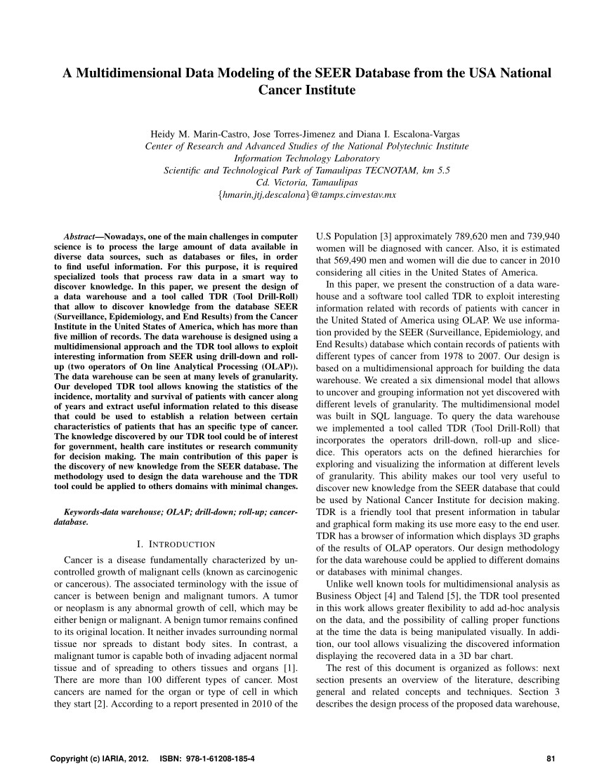 pdf a multidimensional data modeling of the seer database from the usa national cancer institute