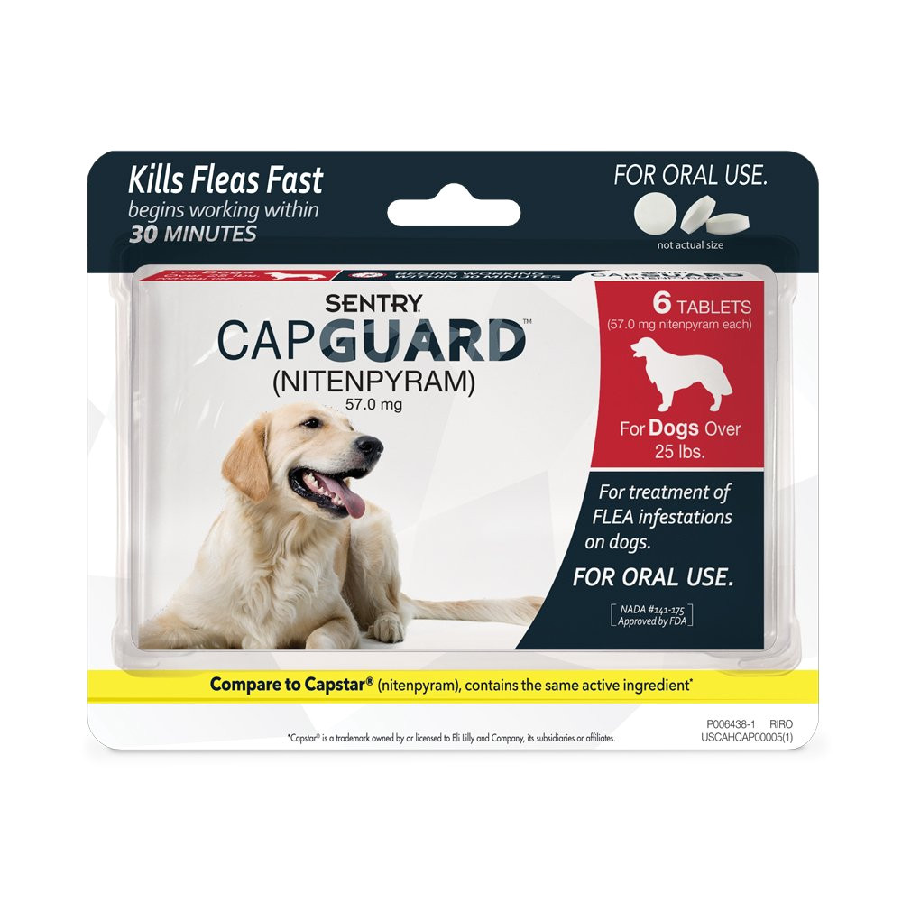 amazon com sentry capguard nitenpyram oral flea control medication 2 25 lbs 6 count pet supplies