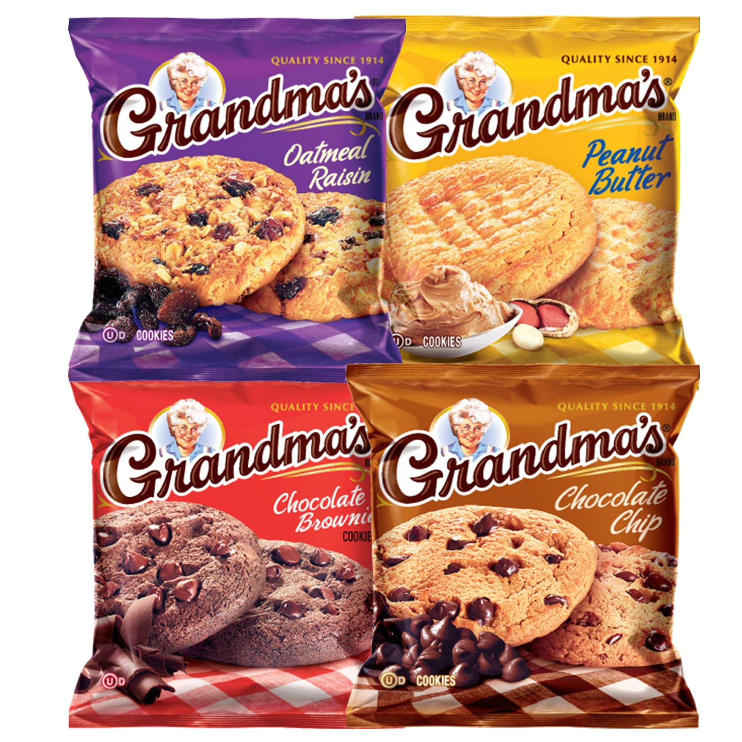 amazon com grandma s cookies variety pack includes chocolate brownie chocolate chip oatmeal raisin peanut butter by variety fun 100 count