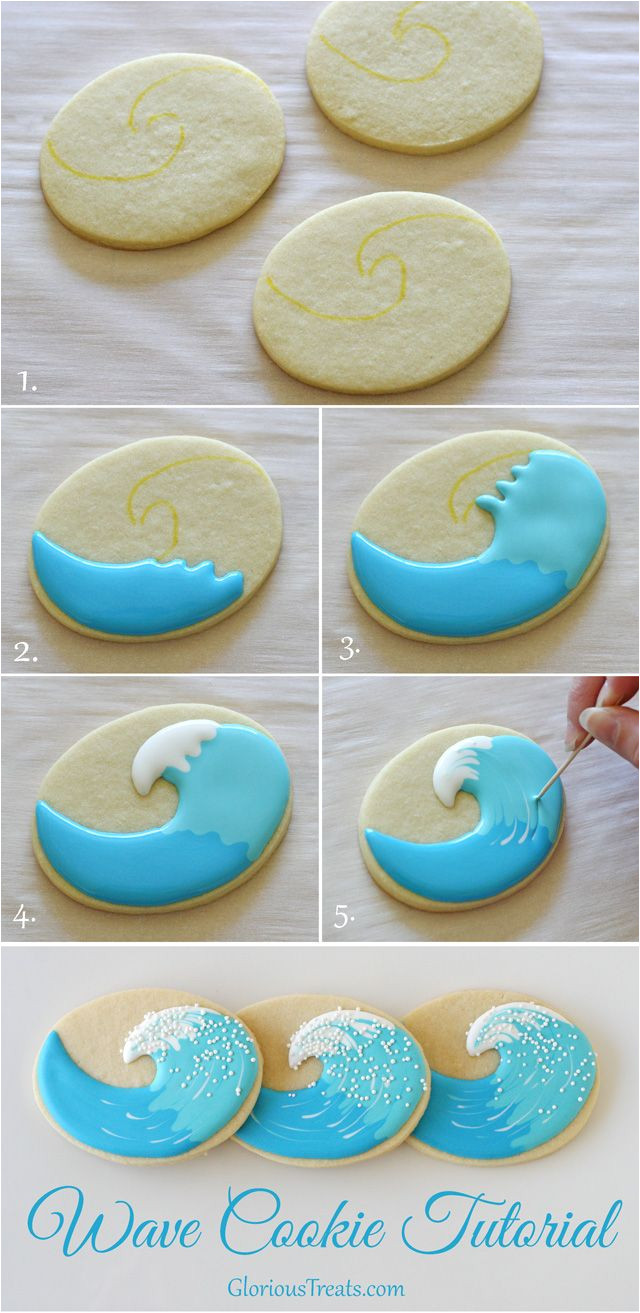 surfboard and wave cookies