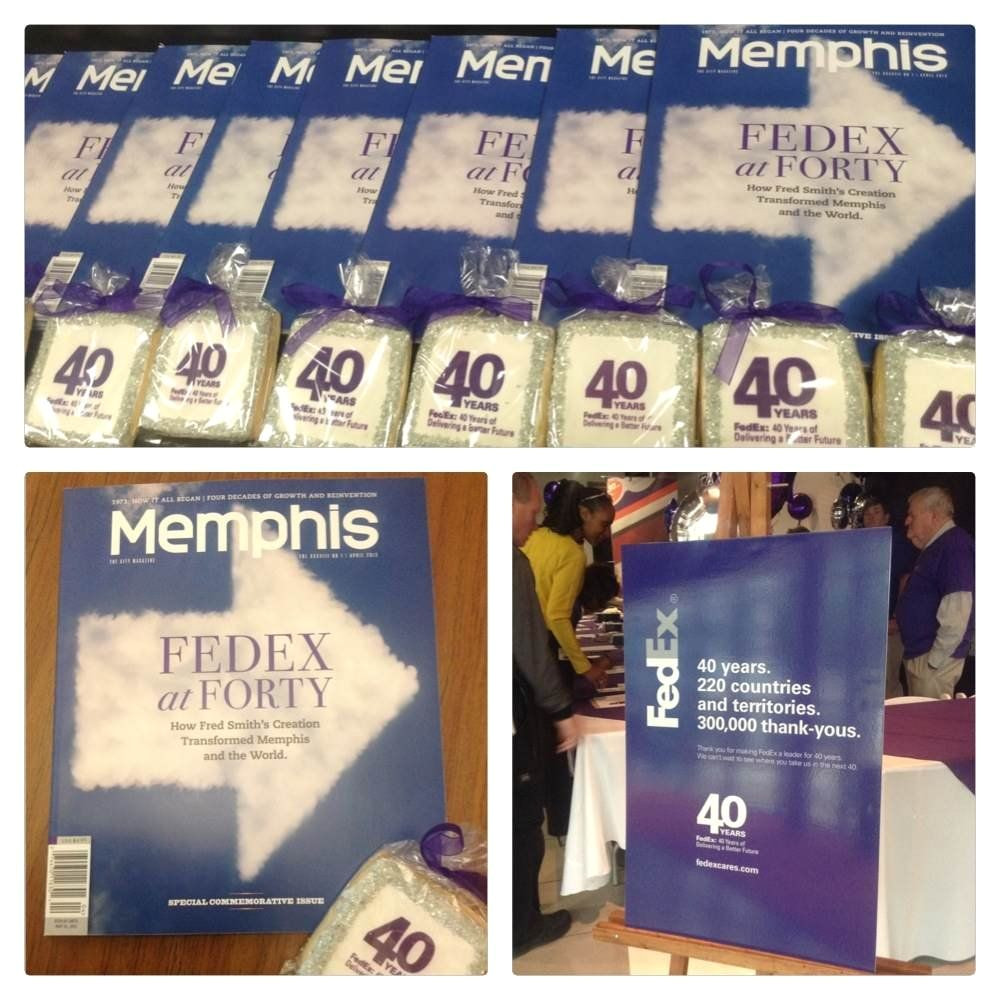 today fedex employees in memphis celebrated the 40th anniversary with a special edition of memphis magazine and some pretty cool custom cookies