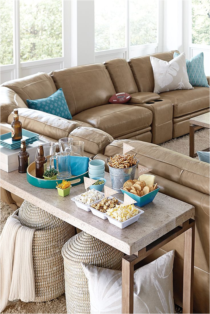 the havertys bentley reclining sectional scores big points in any living room or tv room shown in a latte colored leather the bentley sofa is a great