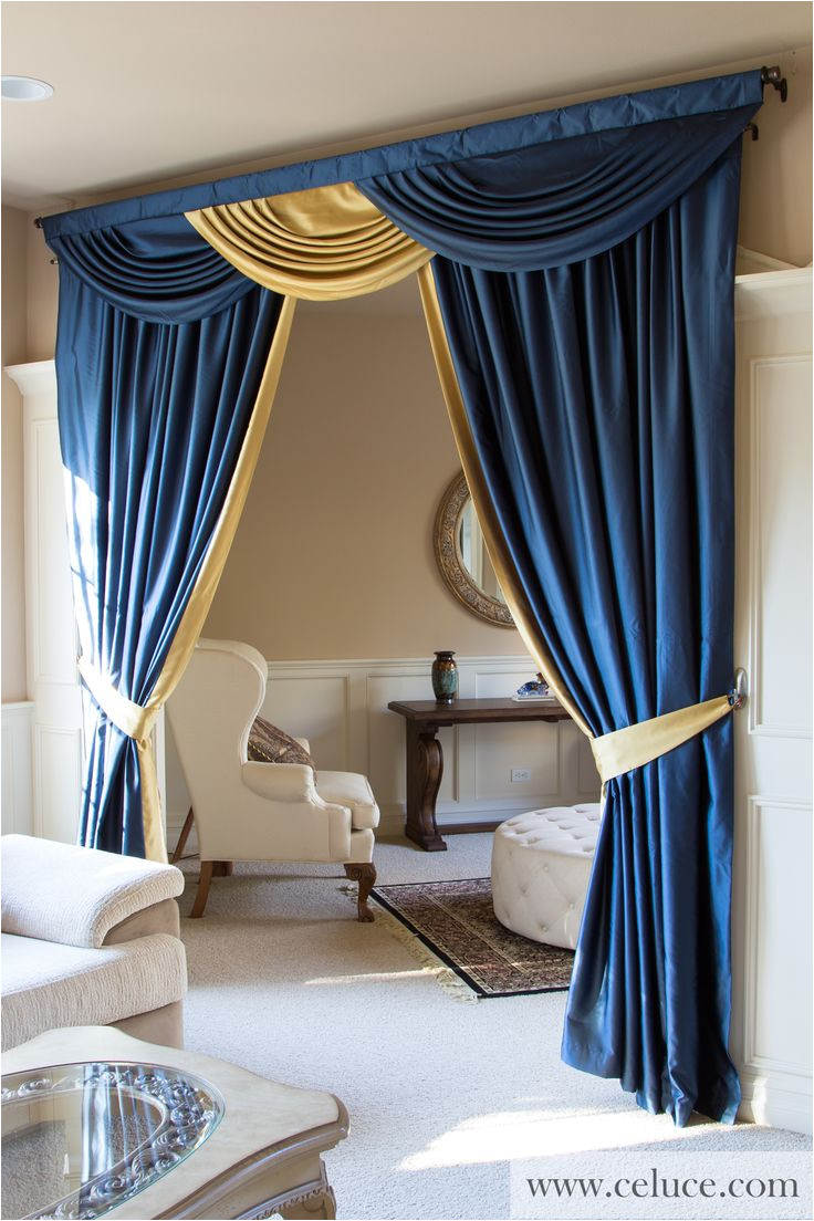 classic blue and gold swag valance curtain set find this pin and more on cortinas para salas elegantes
