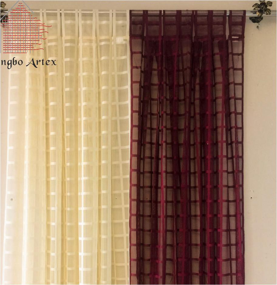 artex 2018 novo xadrez estilo americano de linho cortinas de voile painel cortina sheer cortinas sala cortinas para a cozinha