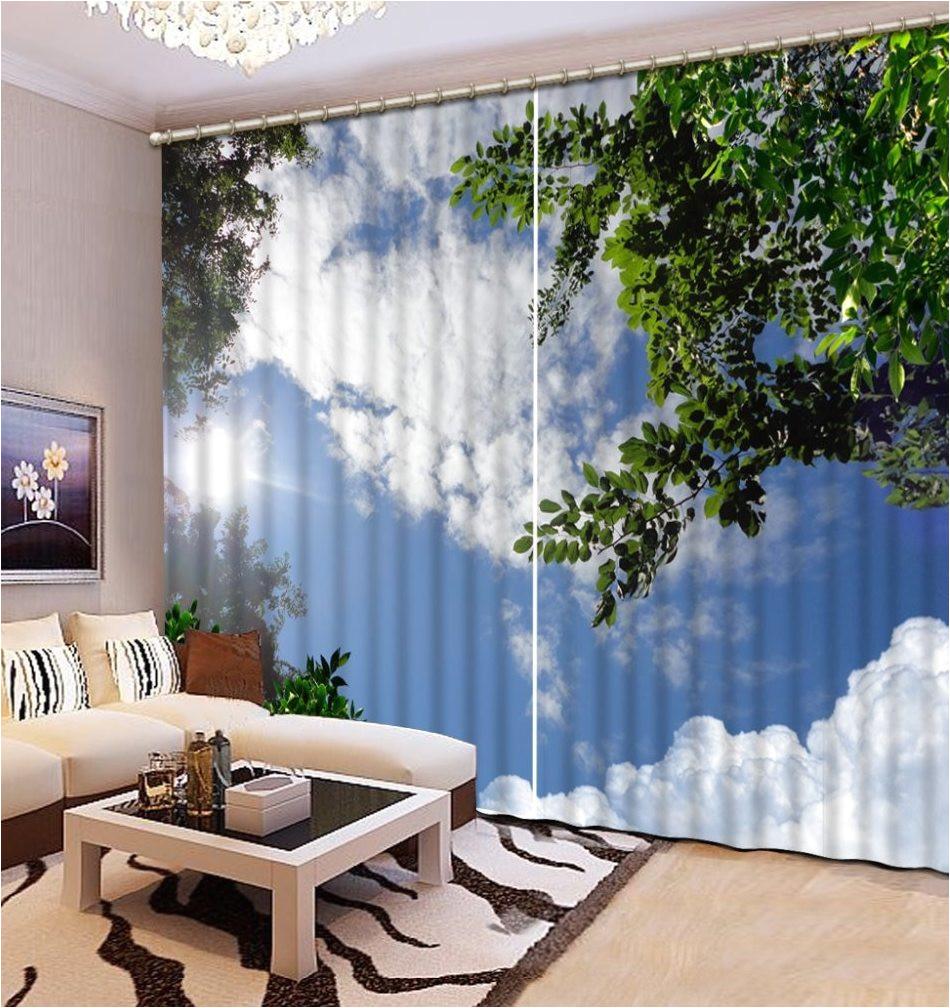 2017 venda quente 3d home cortinas cortinas para sala de estar quarto foto ceu ramo folhas cortina blecaute cortina de cozinha 3d