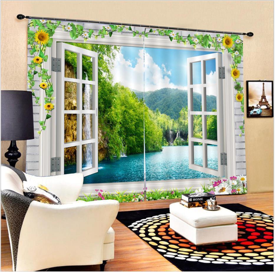 compre 3d blackout cortinas janela cenario verde a gua floresta rio elegante sombra de seda preto cortinas de pano para sala de estar decoraa a o de elecc