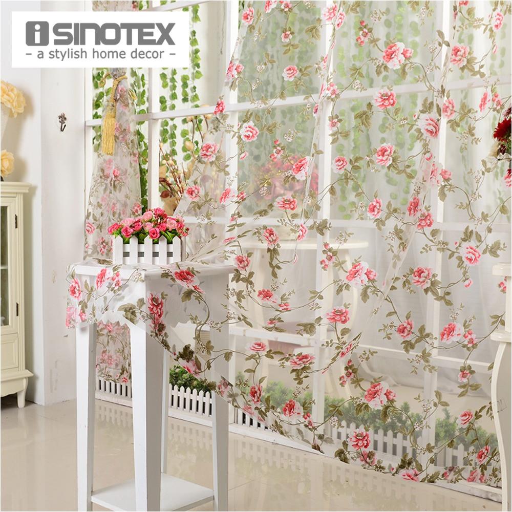 isinotex janela cortina de tecido voile burnout floral vermelho transparente sheer sala tulle voile triagem 1 pa s lote em cortinas de home garden no