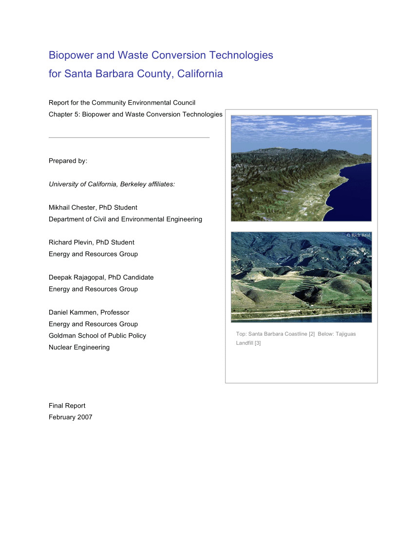 pdf biopower and waste conversion technologies for santa barbara county california