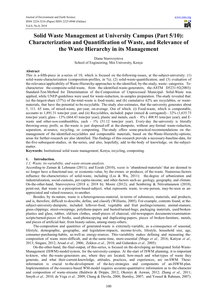 pdf solid waste management swm at a university campus part 1 10 comprehensive review on legal framework and background to waste management