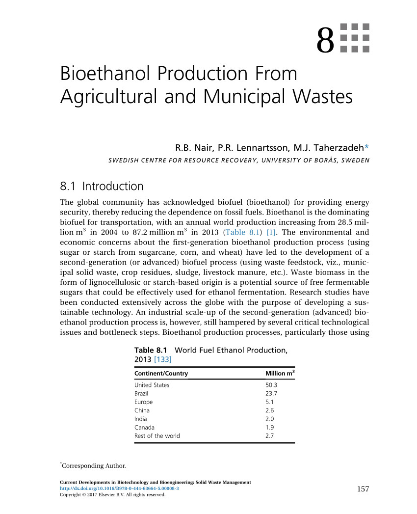 pdf bioethanol production from agricultural and municipal wastes