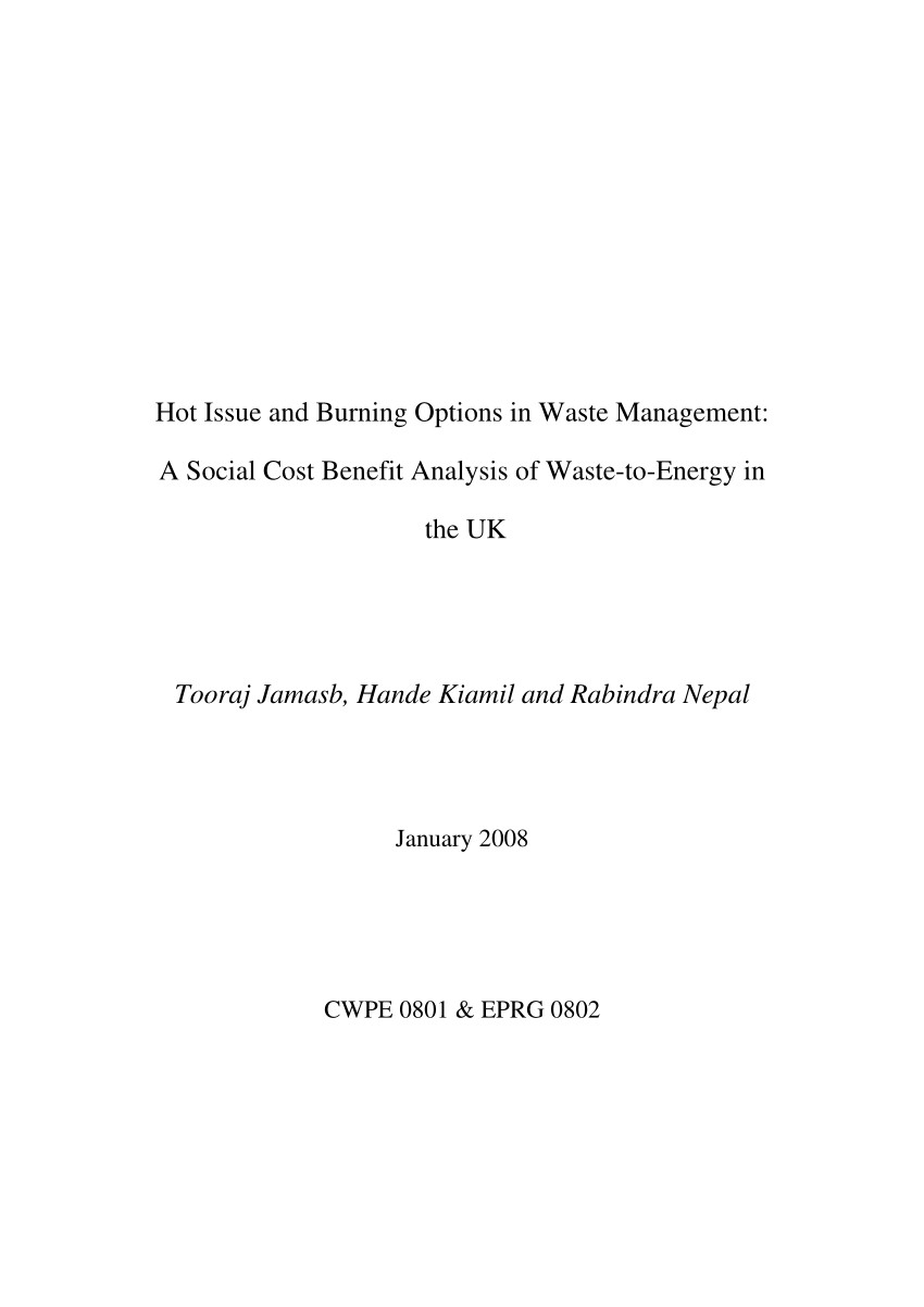 pdf hot issue and burning options in waste management a social cost benefit analysis of waste to energy in the uk
