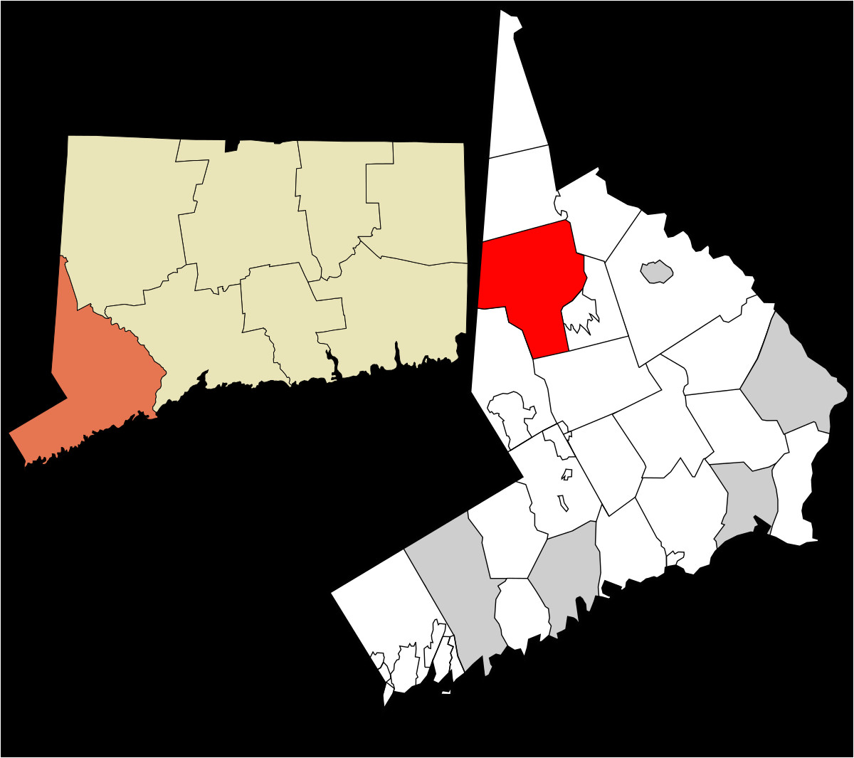 1200px fairfield county connecticut incorporated and unincorporated areas danbury highlighted svg png
