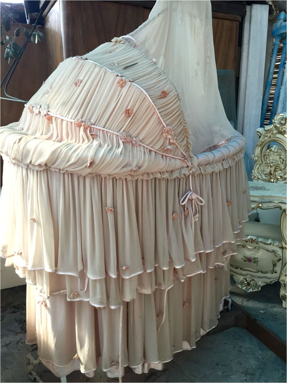 the most beautiful vintage bassinet i ve seen complete with silk bedding contact me