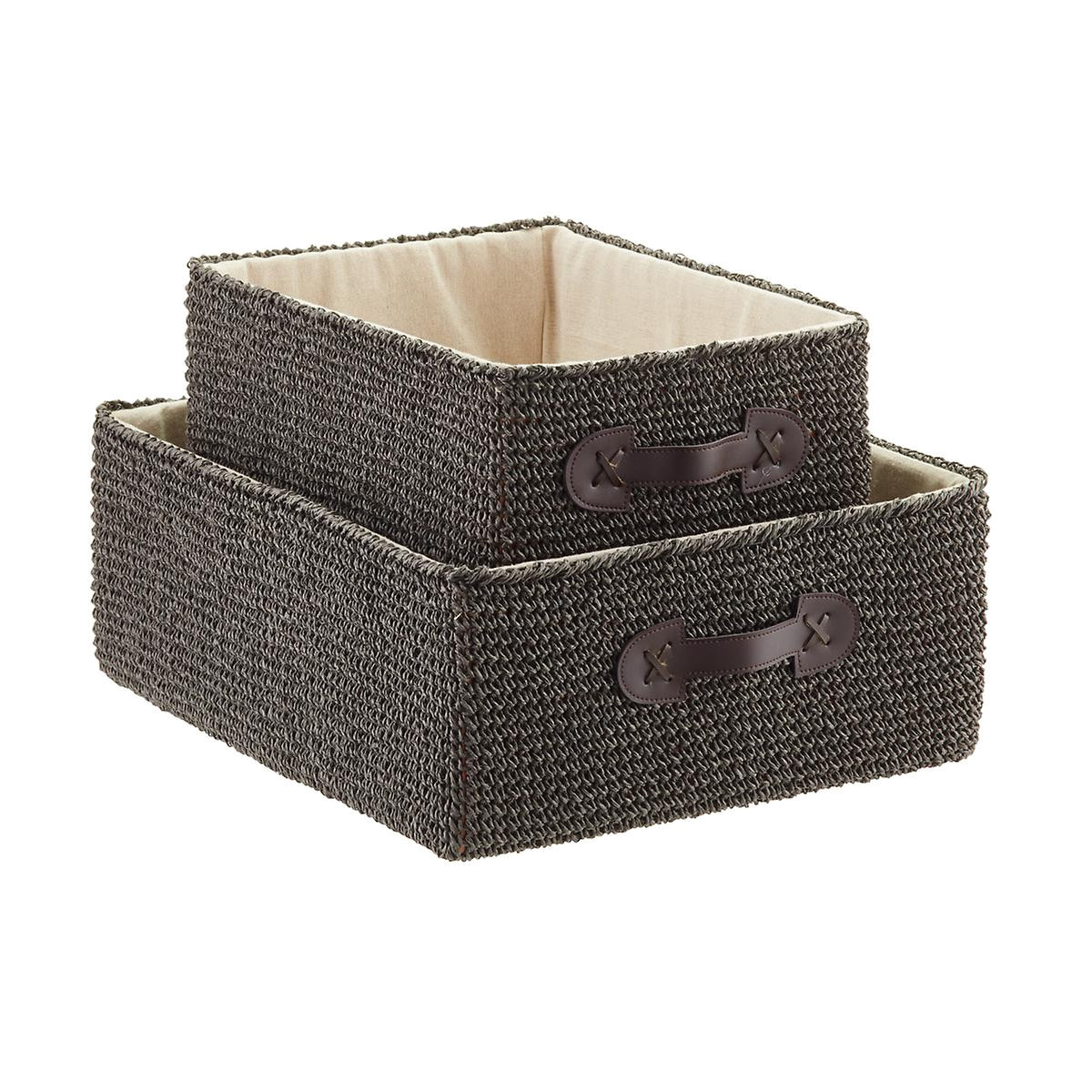 grey crochet rectangular storage bins with handles