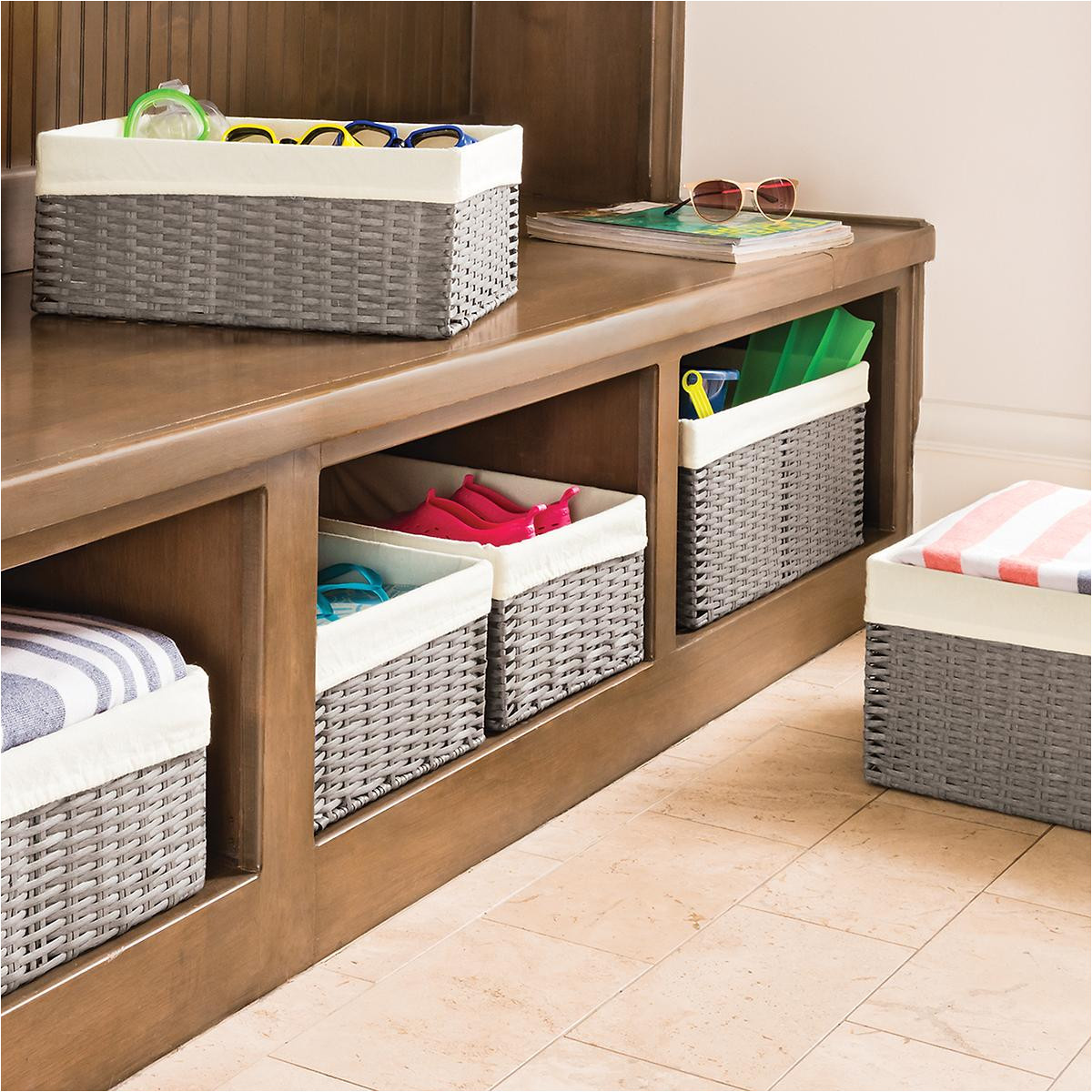 grey montauk woven rectangular storage bins