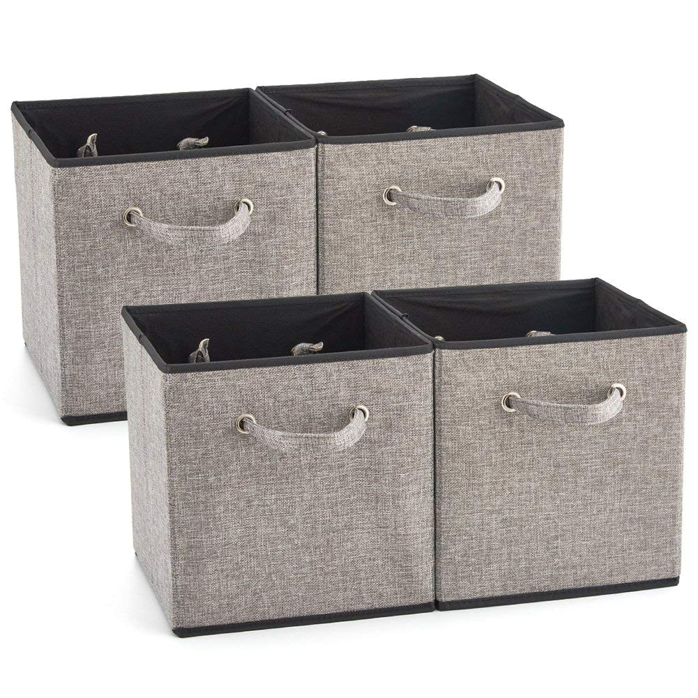 ezoware 4 pack fabric foldable cubes bin organizer container with handles for drawer nursery closet office home gray 27x28x27cm amazon ca home