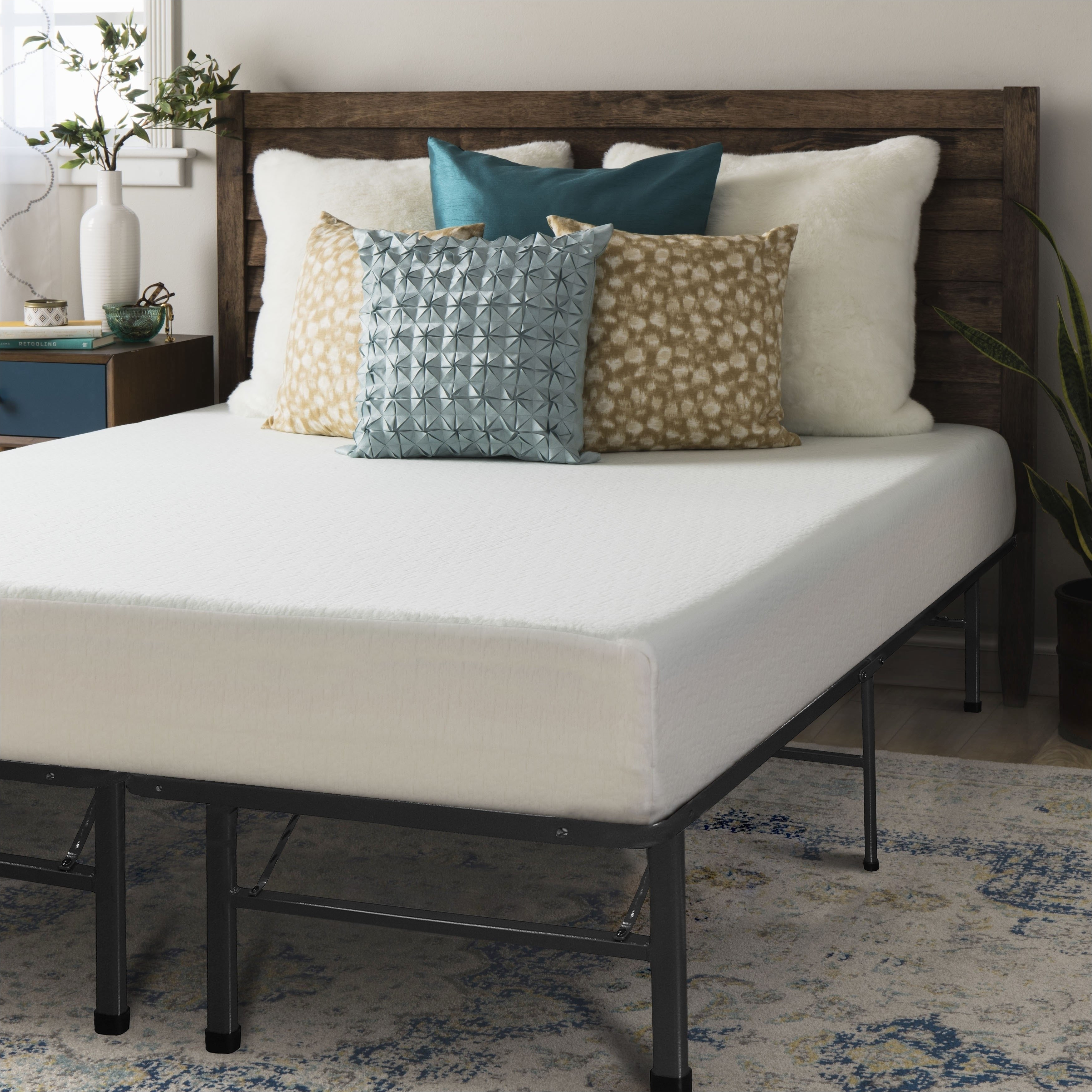 full size memory foam mattress 8 inch with bed frame and brackets bed skirt set crown comfort free shipping today overstock com 19304976