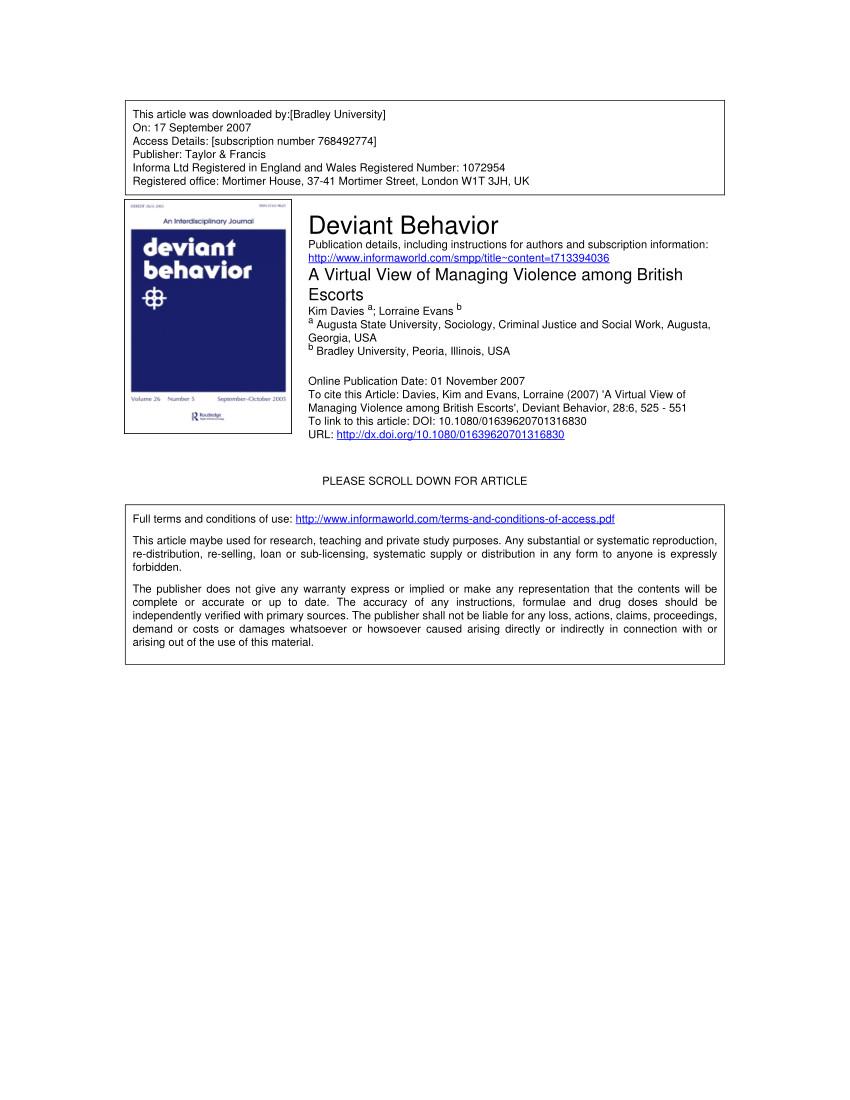 pdf a virtual view of managing violence among british escorts