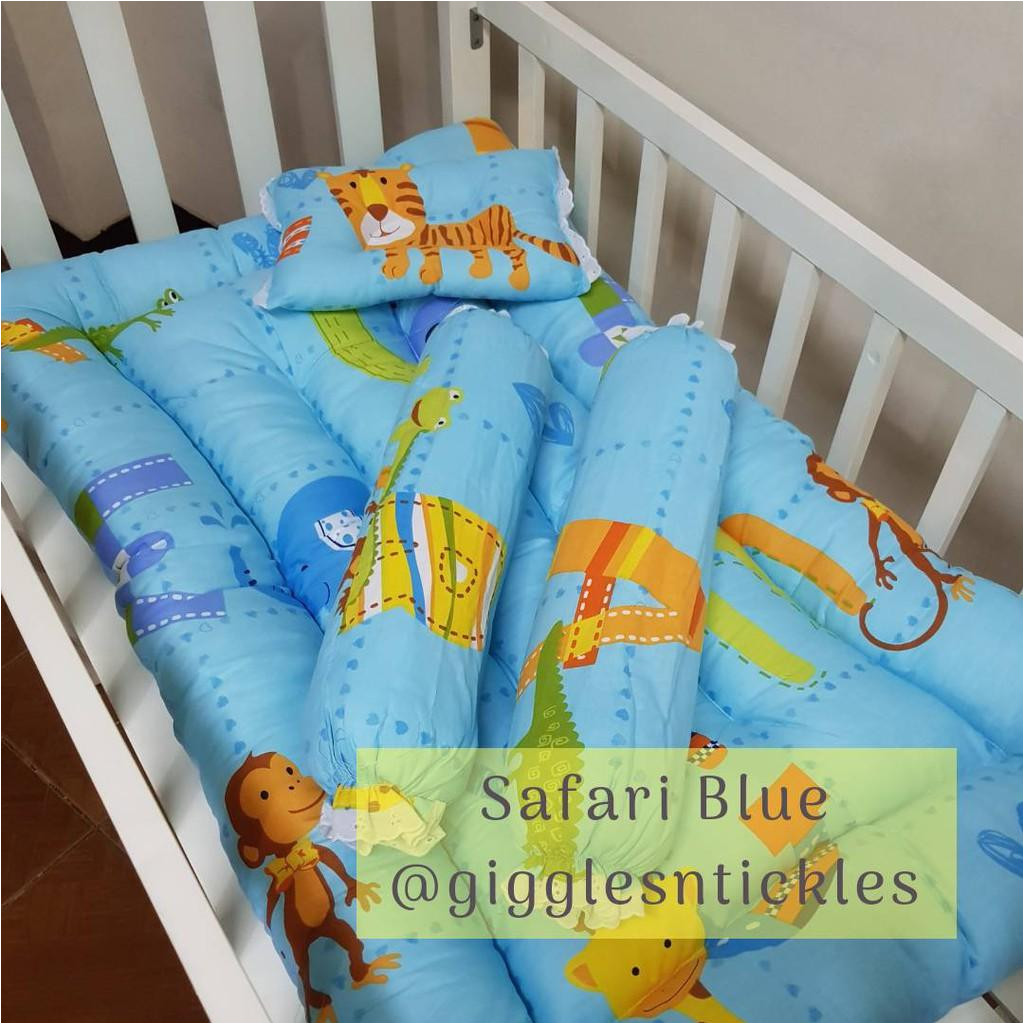 high quality soft baby crib comforter and pillows set blue safari