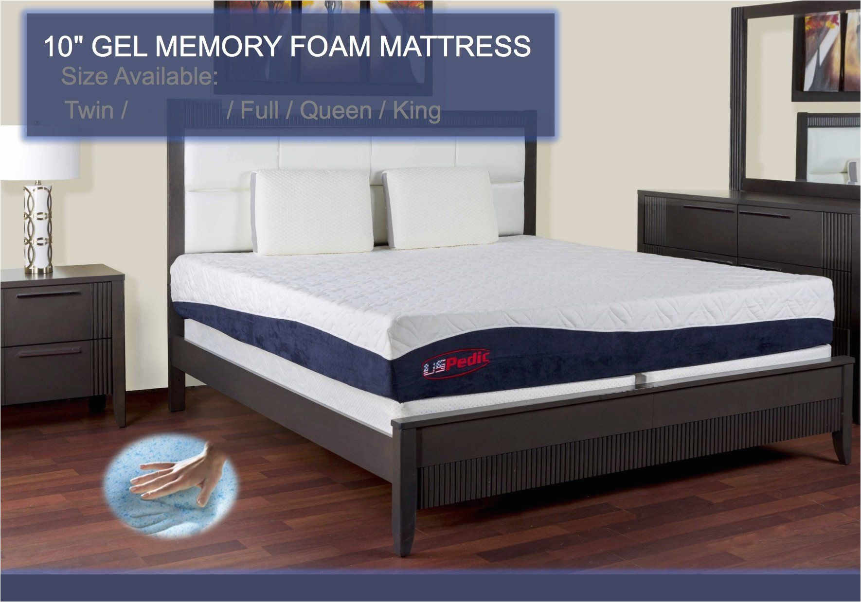 uspedic queen mattress gel infused memory foam takes the shape of your body relaxed sleep 10