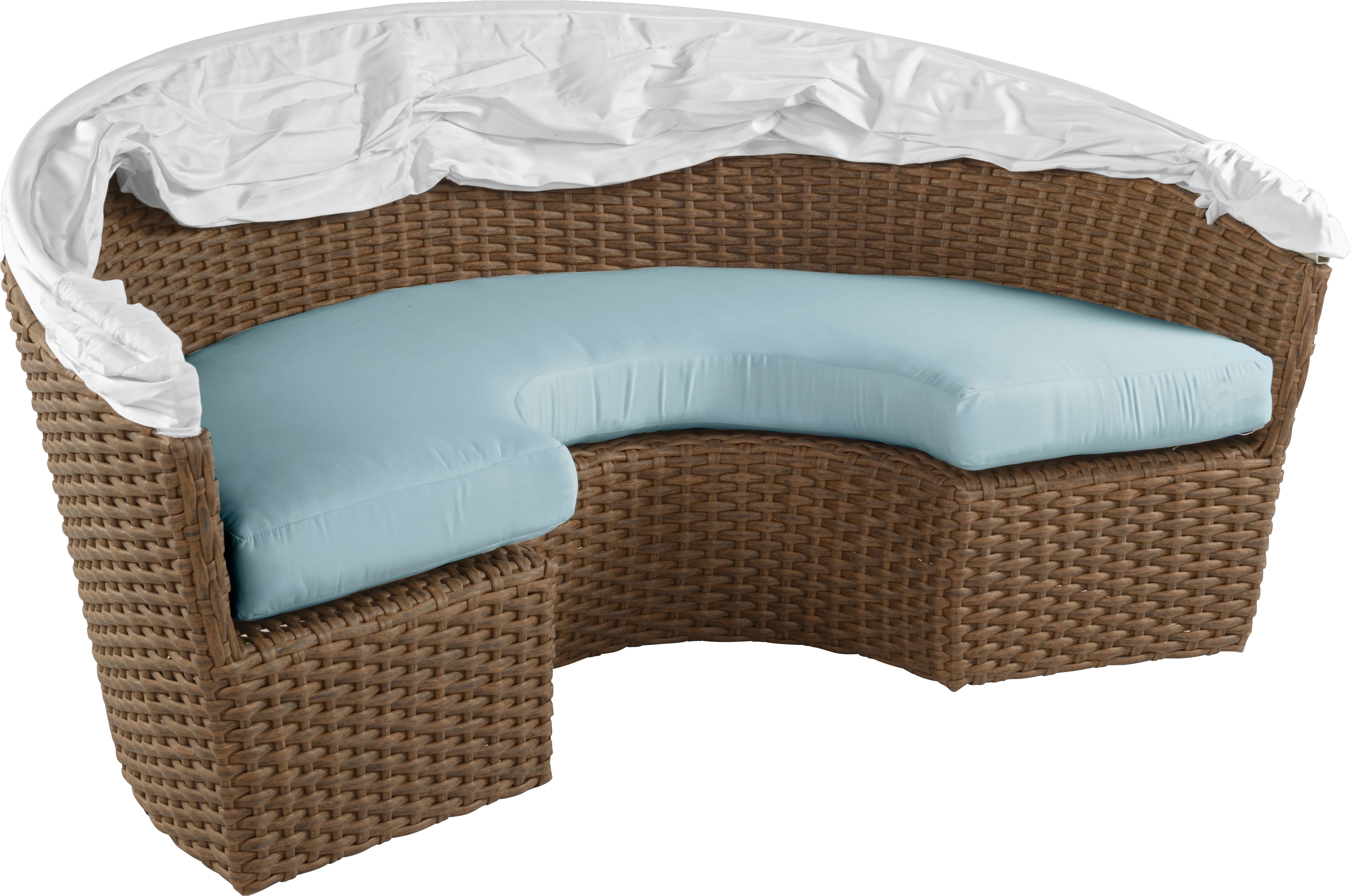 palisades brown daybed with blue cushions outdoor daybeds blue wicker