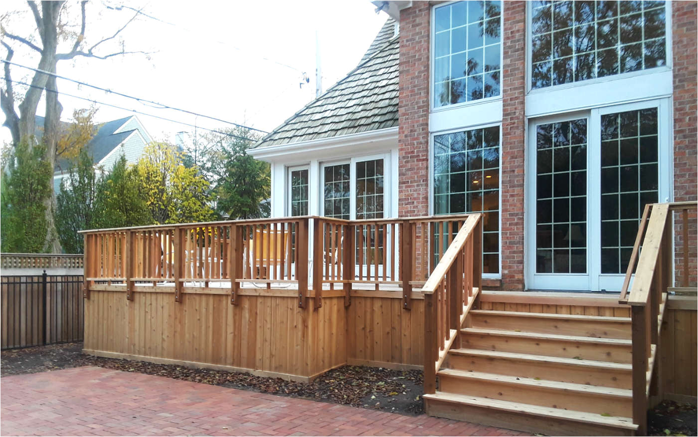 spacious wood deck by western springs il deck builder thumbnail