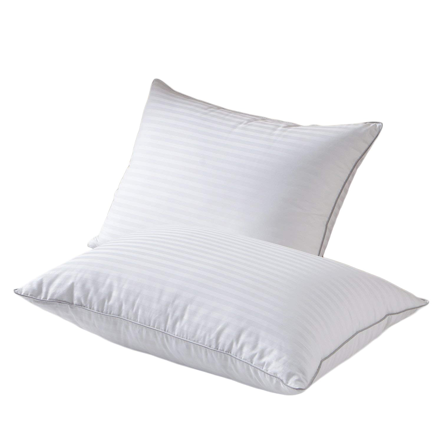 amazon com snowman white goose down feather bed pillow meduim firm 1000 thread count 1cm stripe 100 egyptian cotton cover hypoallergenic queen 1