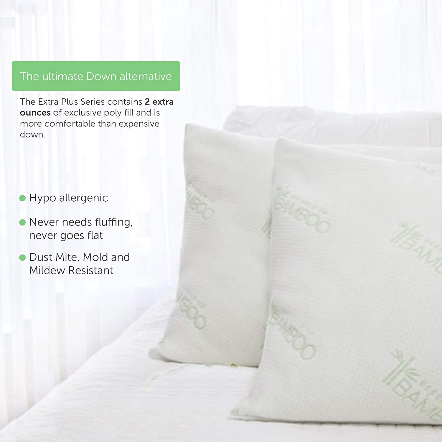amazon com ultimate essence of bamboo derived rayon pillow extra plush edition down alternative hypoallergenic poly bed pillows with bamboo derived