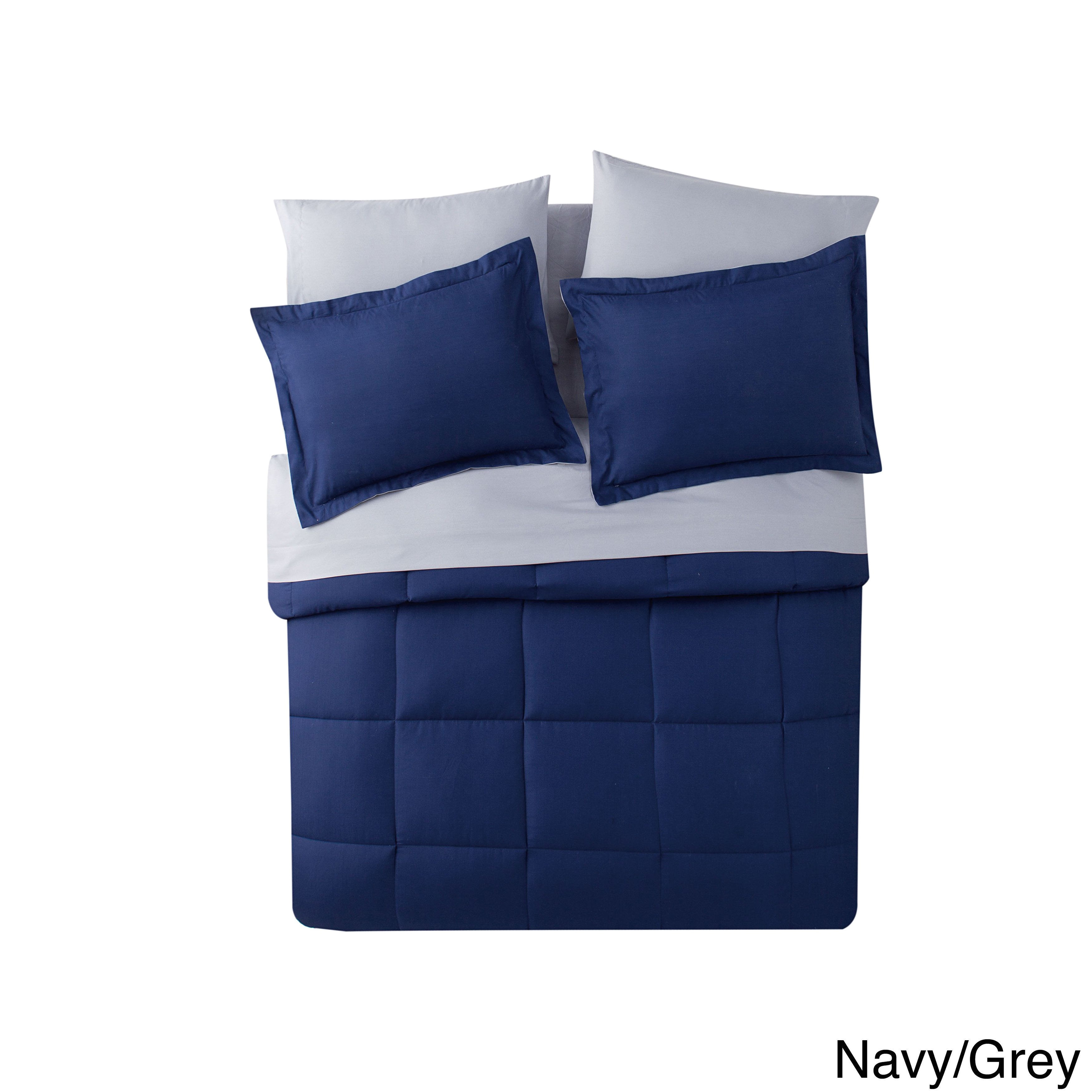 porch and down west bench down alternative 7 piece bed in a bag queen navy grey blue polyester solid color