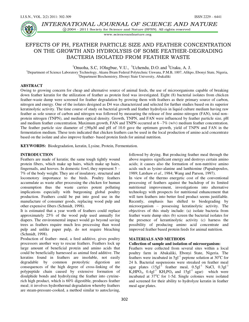 pdf effects of ph feather particle size and feather concentration on the growth and hydrolysis of some feather degrading bacteria isolated from feather