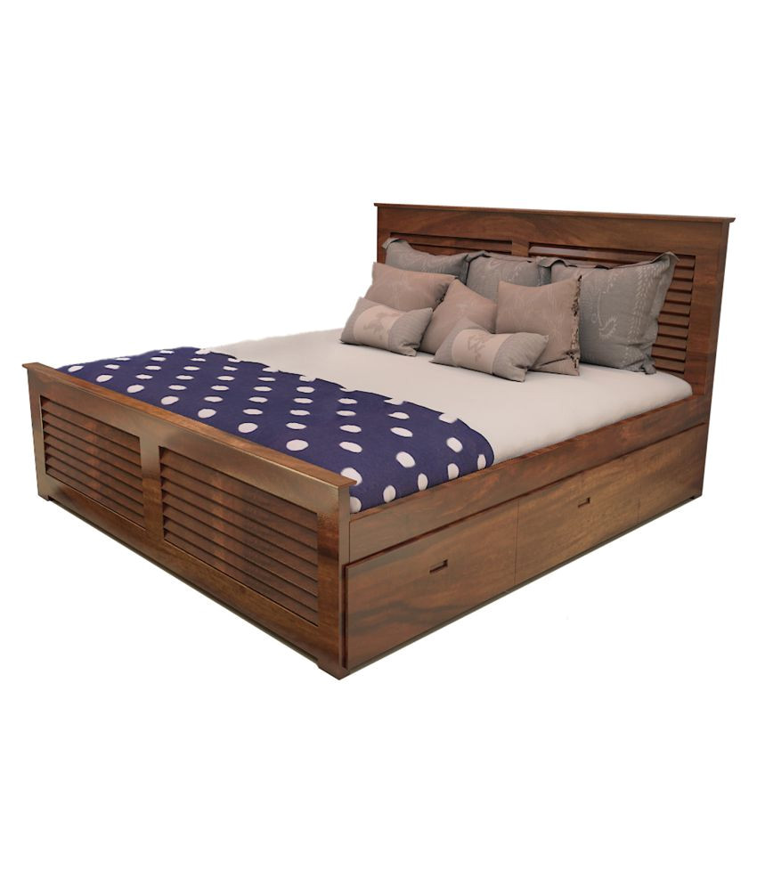 wooden king size double bed in teak finish