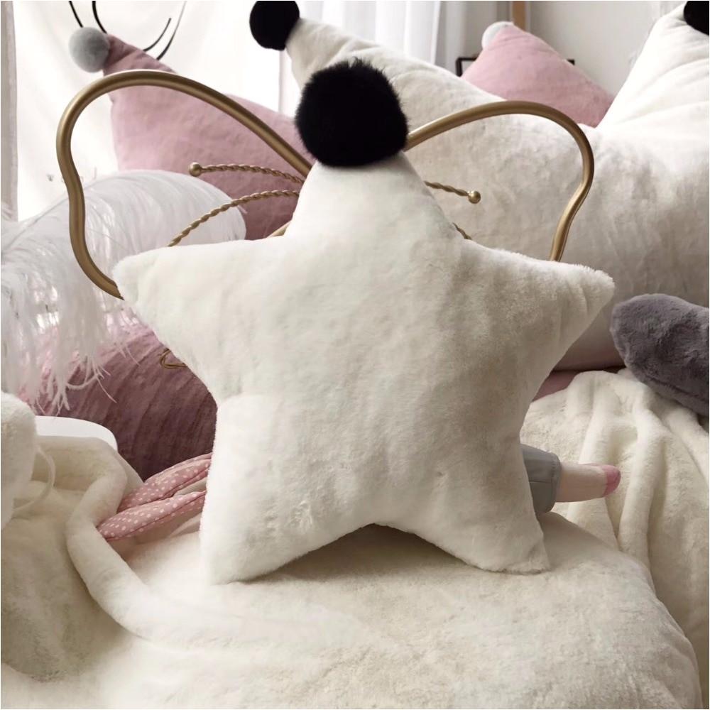 rabbit fur pillow decorative room cartoon star heart crown pillow cushion balls cute baby pillows stuffed plush dolls cusion in cushion from home garden