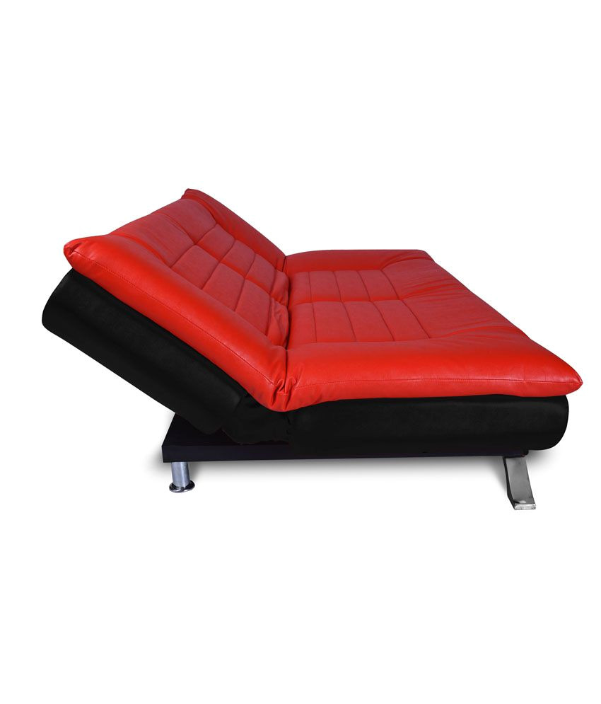elite three seater leatherette sofa cum bed folding bed red