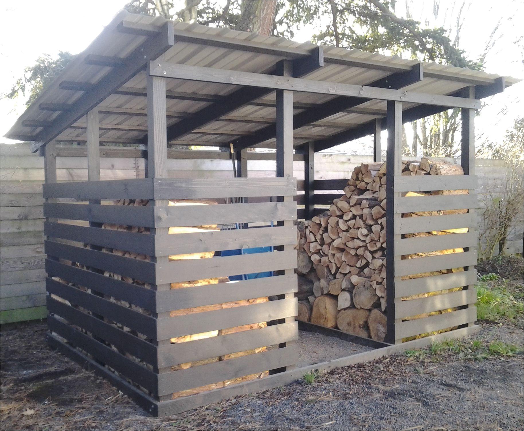 modern firewood shed black